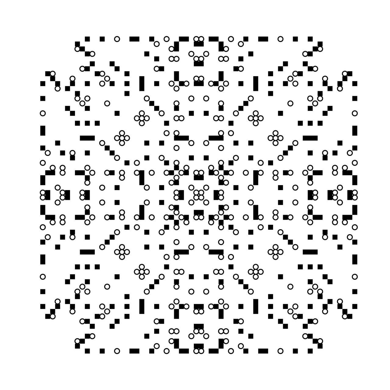 Schwarze Pixel vor weißem Hintergrund bilden ein Muster