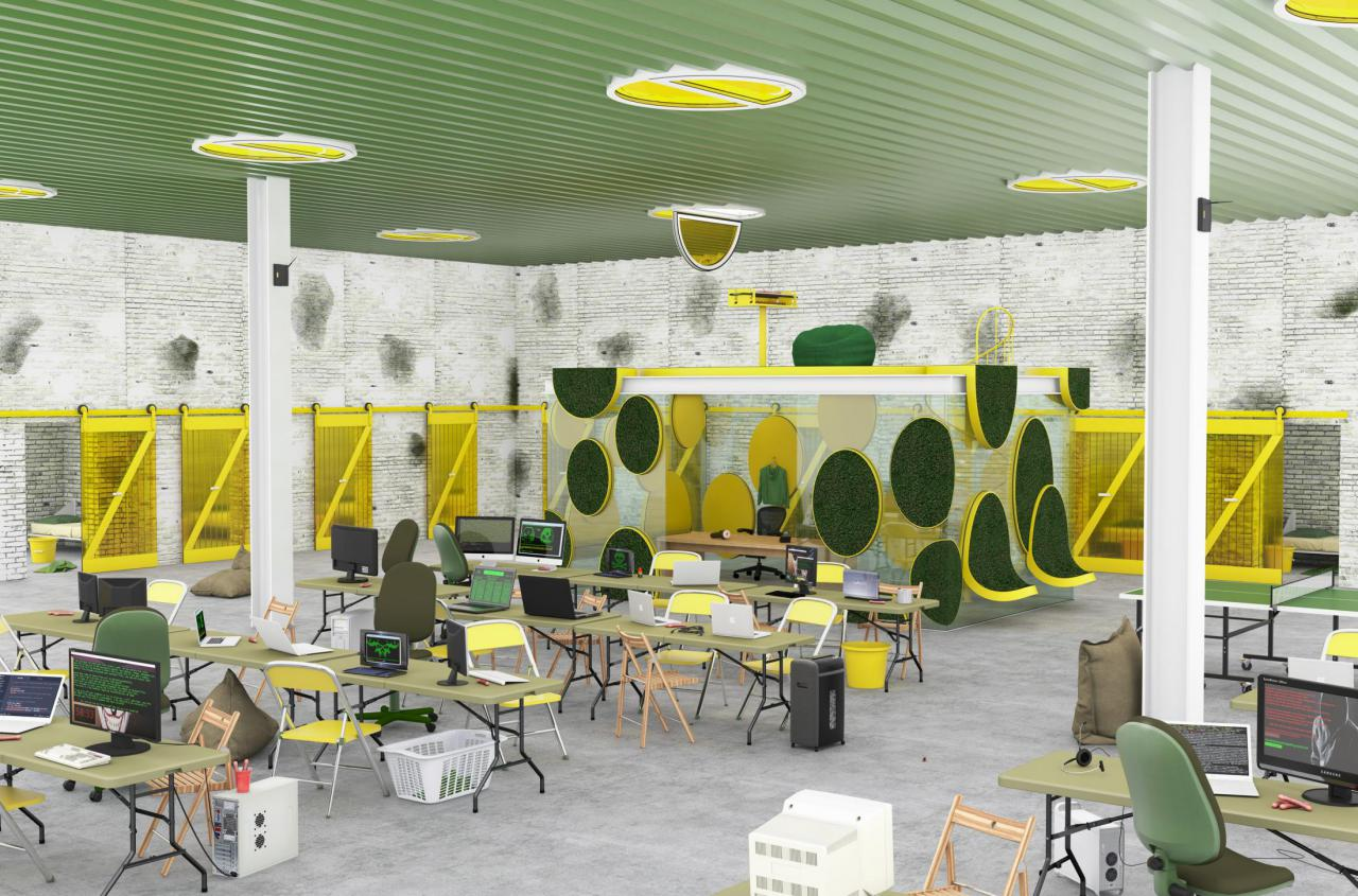 Graphical representation of a possible work area with green ceiling, yellow chairs and circular plastic grass surfaces on the walls