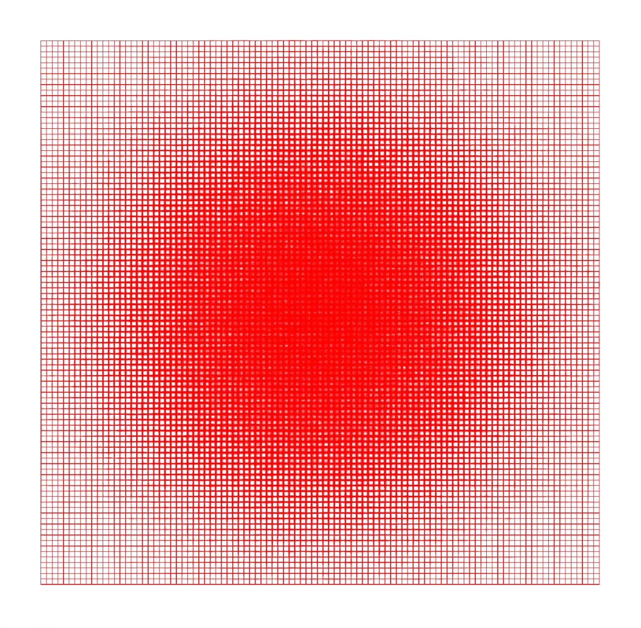 2D-Quadrat roter Gitterlinien, die sich zur Mitte hin in Form eines Kreises verdichten