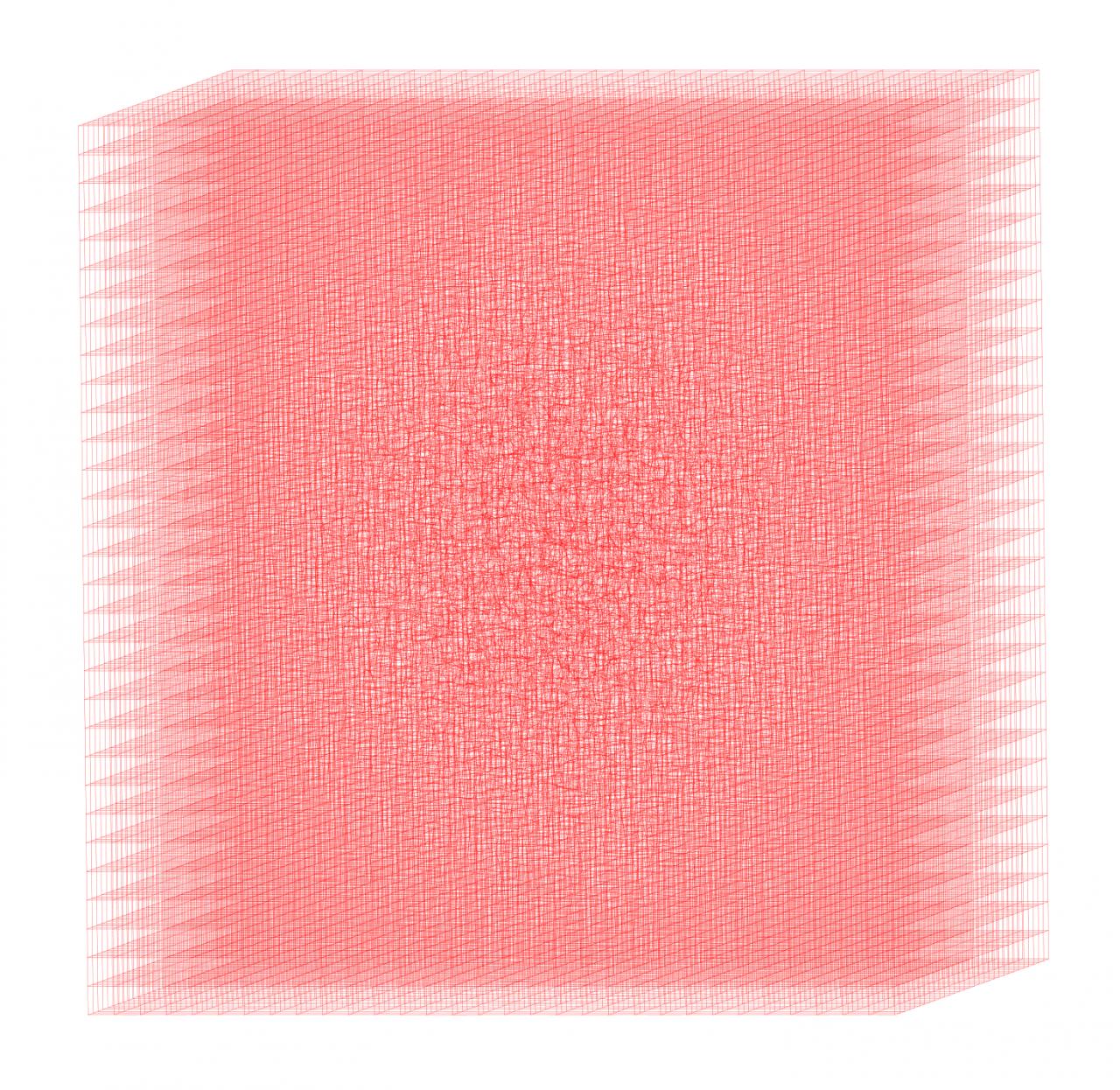 Dreidimensionaler Körper roter Gitterlinien