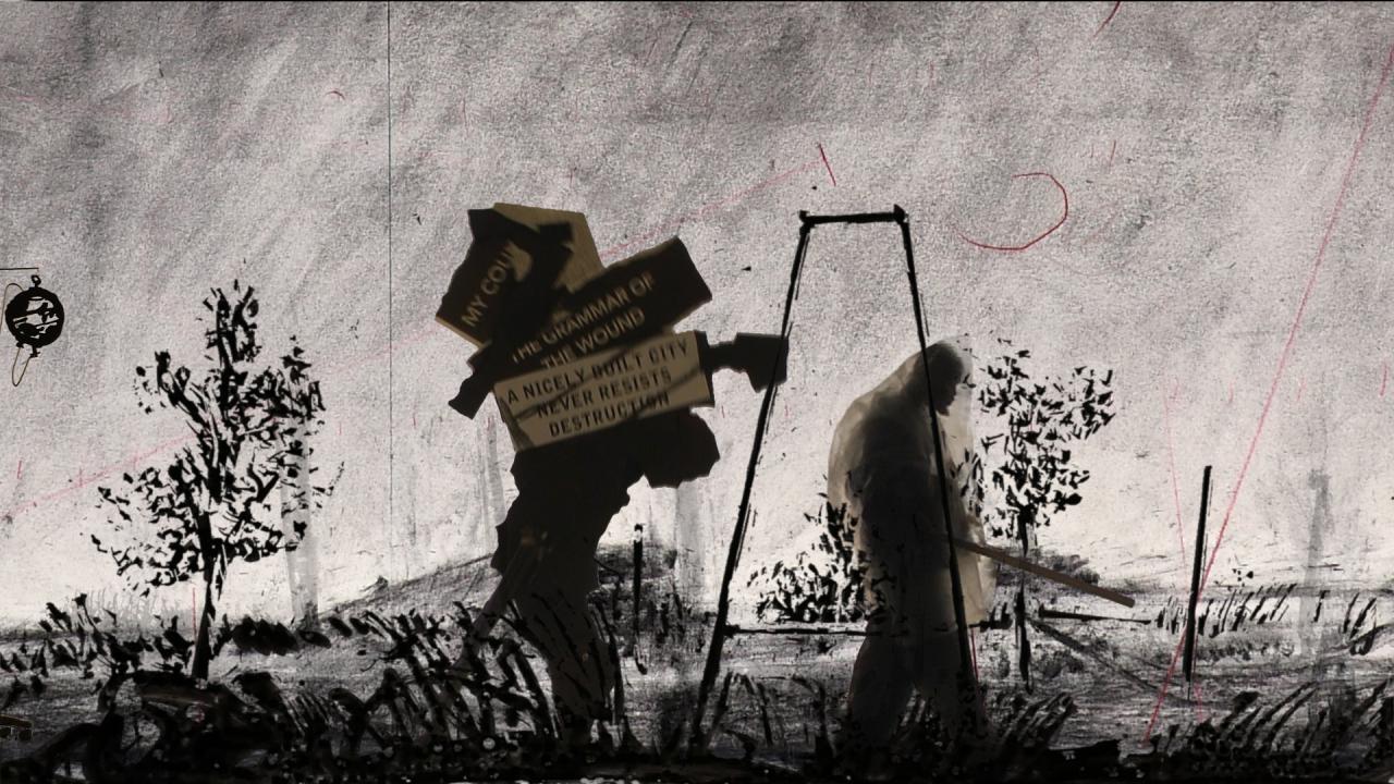 Zwei Männer schreiten voran, einer von ihnen trägt Kisten mit Aufschriften