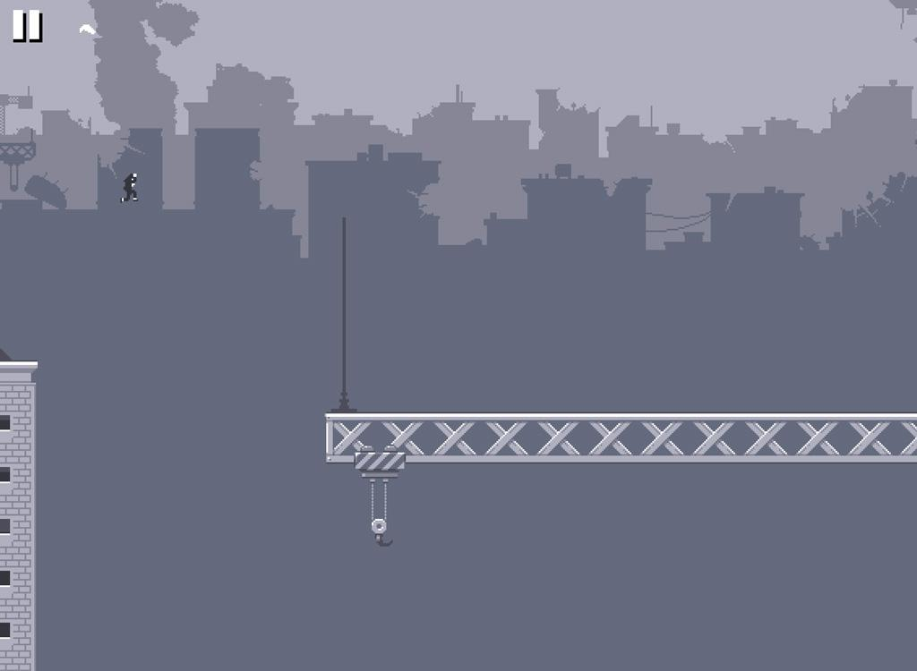 A character jumps from a highrise roof onto a crane