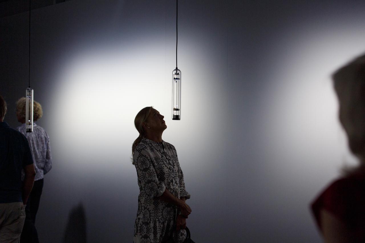 Das Bild zeigt eine Frau die auf eine Klanginstallation hochschaut die in längliches Glas gefasst ist