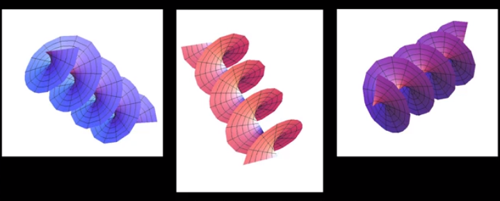 Three illustrations of Fabrizio Tamburini´s new model of light, light as a vortex.