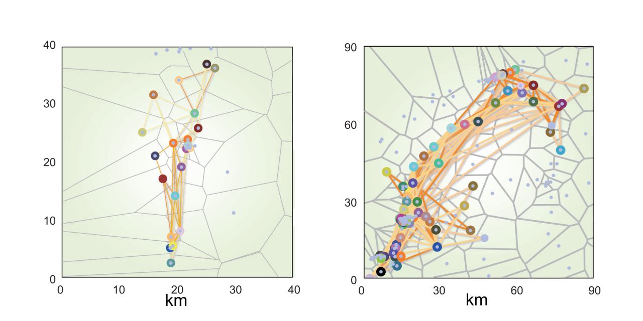 Zwei geographische Karten, die durch gelbe Linien verbundene farbige Punkte zeigen