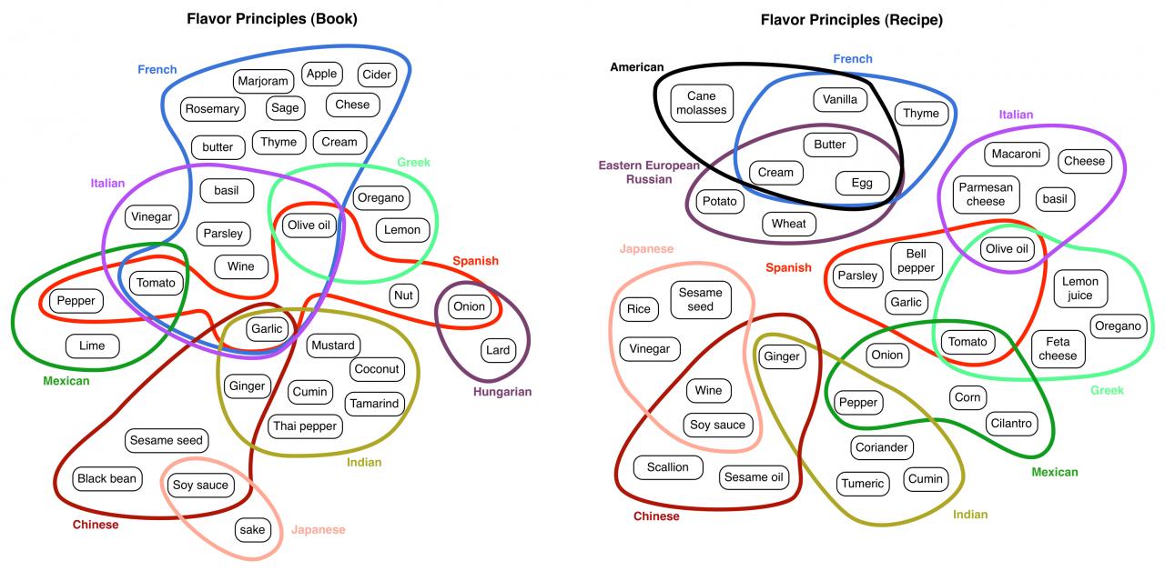 Zwei Grafiken mit dem Titel »Flavor Principles« zeigen mit bunten Kreisen die häufigsten Kombinationen verschiedener Zutaten