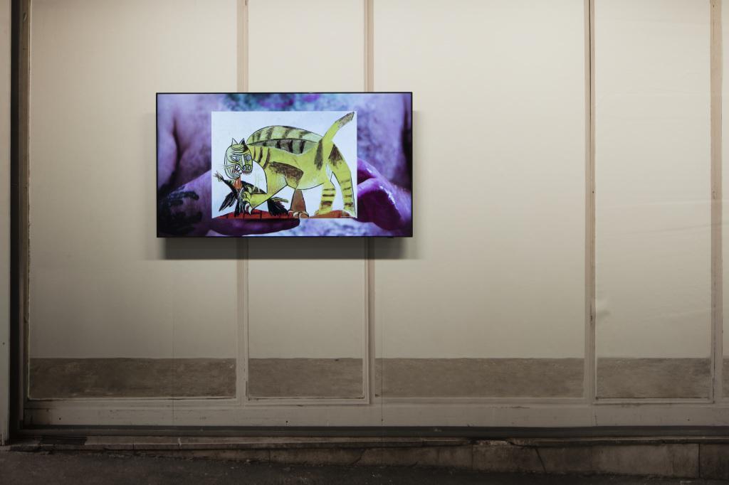Ein Bildschirm, der einen gezeichneten Tiger zeigt