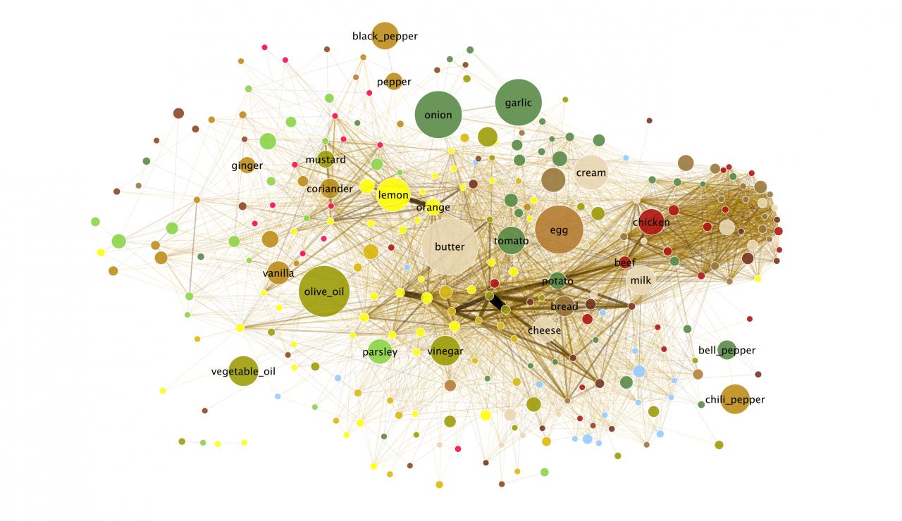 Frühere Version des »Flavor Network« (farbige Punkte, durch Linien verbunden)