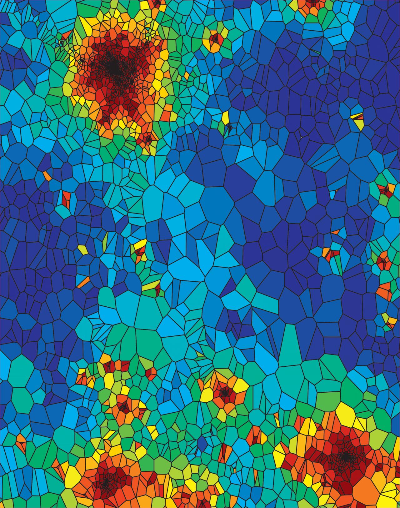 Geographische Karten mit Linien ähnlich einer Zellstruktur. Eingefärbte Zellen stellen die virusbefallenen Gebiete dar, die sich von Bild zu Bild weiter ausbreiten, bis sie die ganze Karte bedecken.