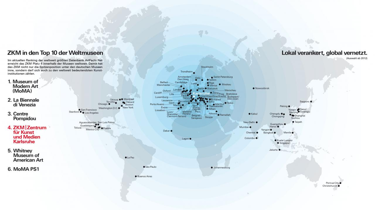 Das Bild zeigt eine  Weltkarte, auf der die Ausstellungsstationen des ZKM markiert sind