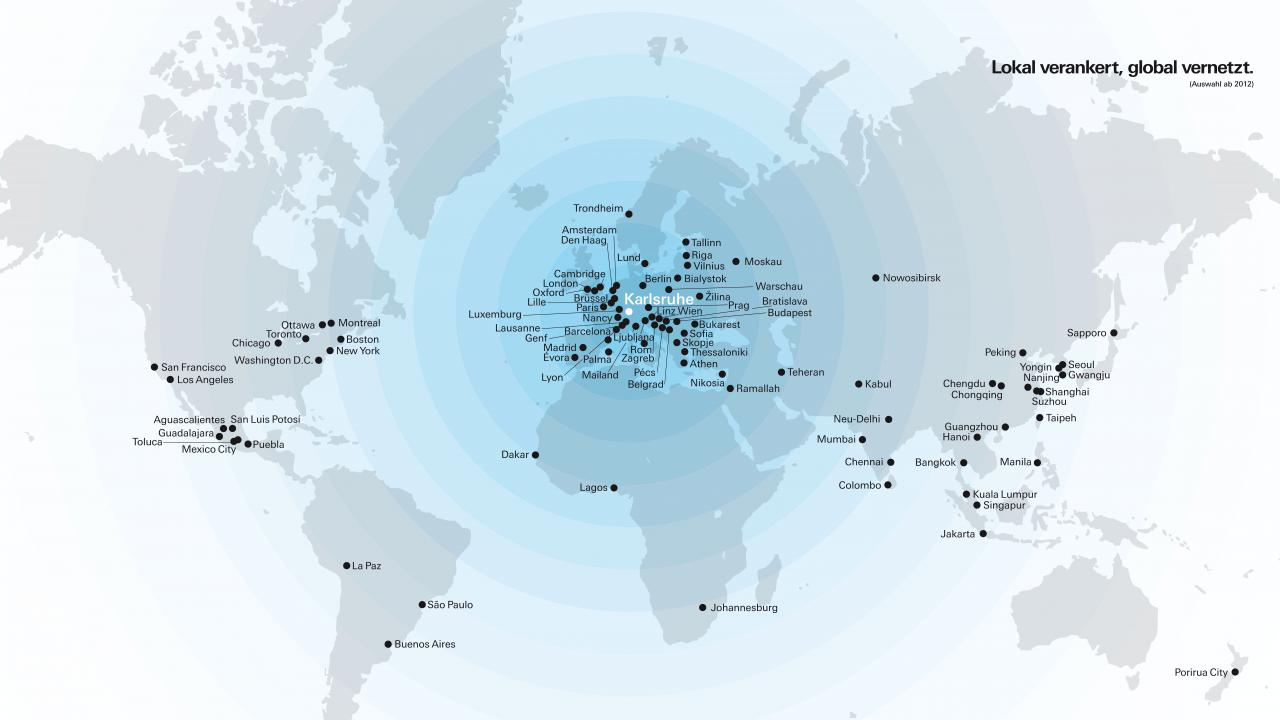 The graphic shows a world map showing the stations of the ZKM exhibitions worldwide.
