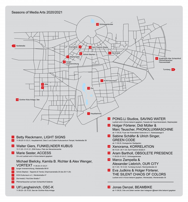 Der Lageplan der Kunstwerke des Kunstfestivals Seasons of Media Arts, die im Stadtraum Karlsruhe verteilt sind.