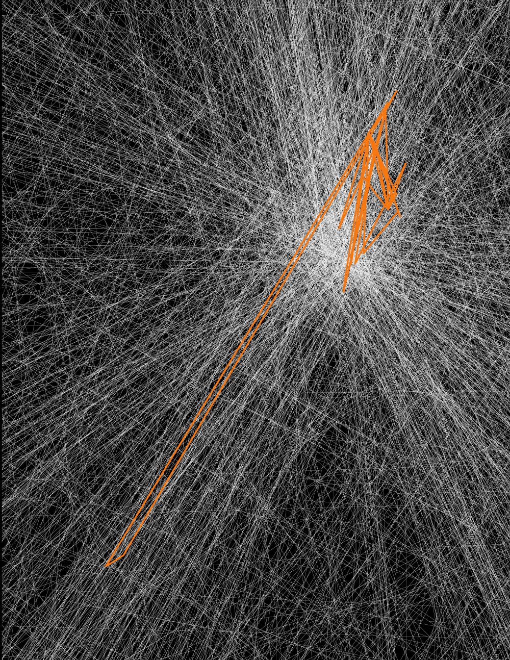 Zahllose weiße Linien auf schwarzem Grund laufen zu einem Fluchtpunkt. Darübergelegt sind zackig gezogene orange Linien.