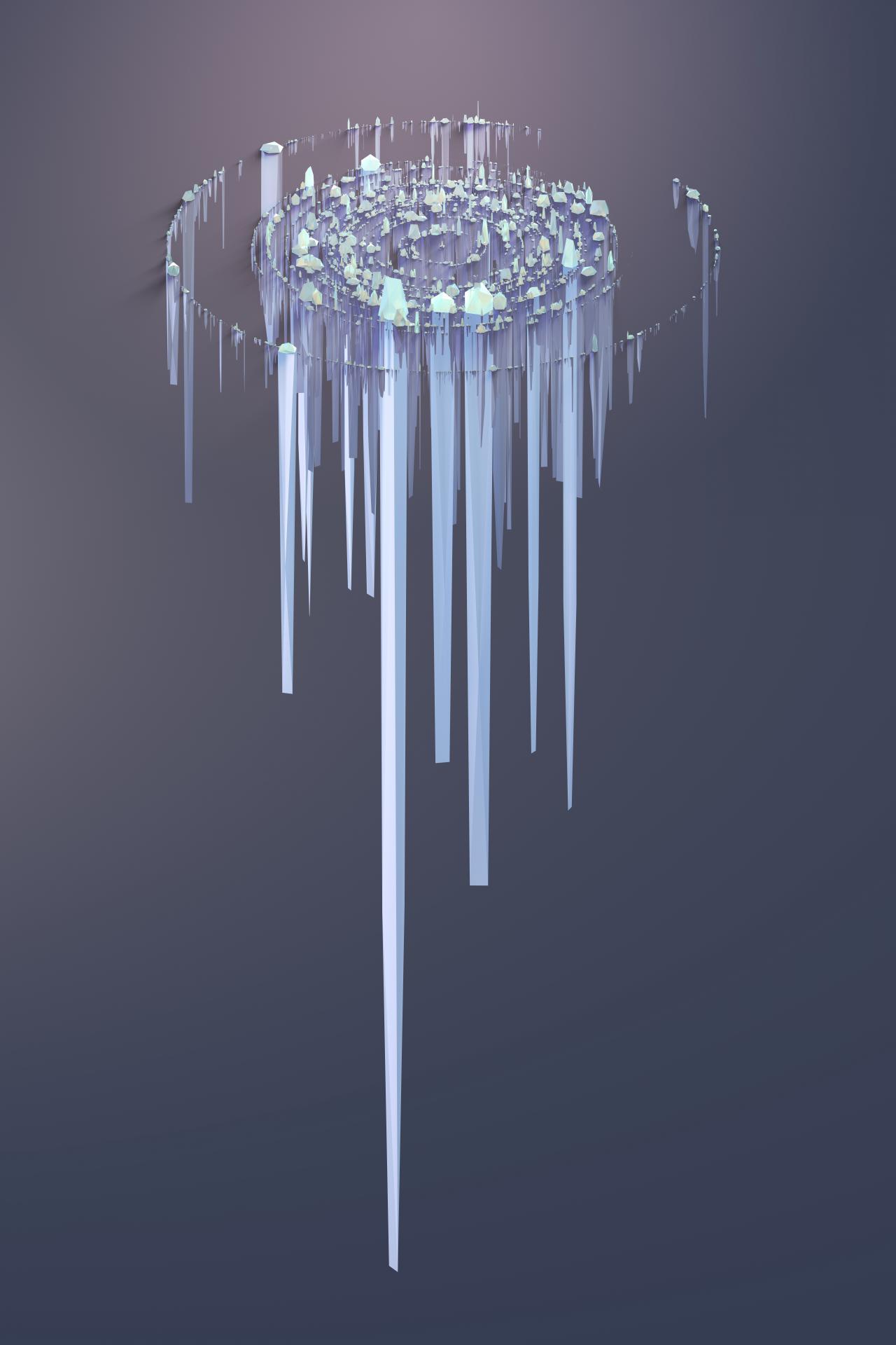 Kreisförmig im leeren Raum schwebende Gebilde, die wie Eiszapfen in unterschiedlichen Längen aussehen