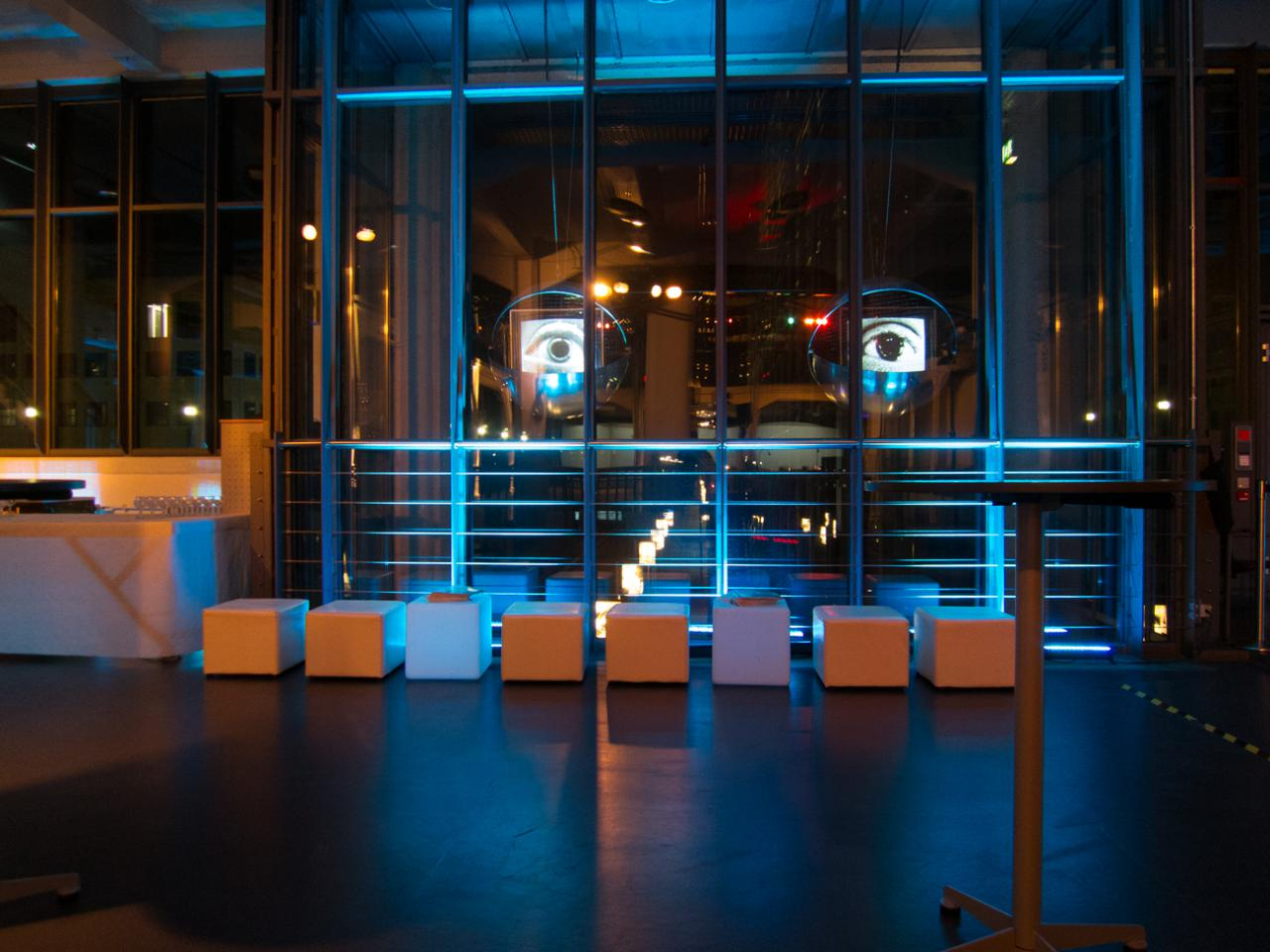 The ZKM_Music Balcony with stools at night