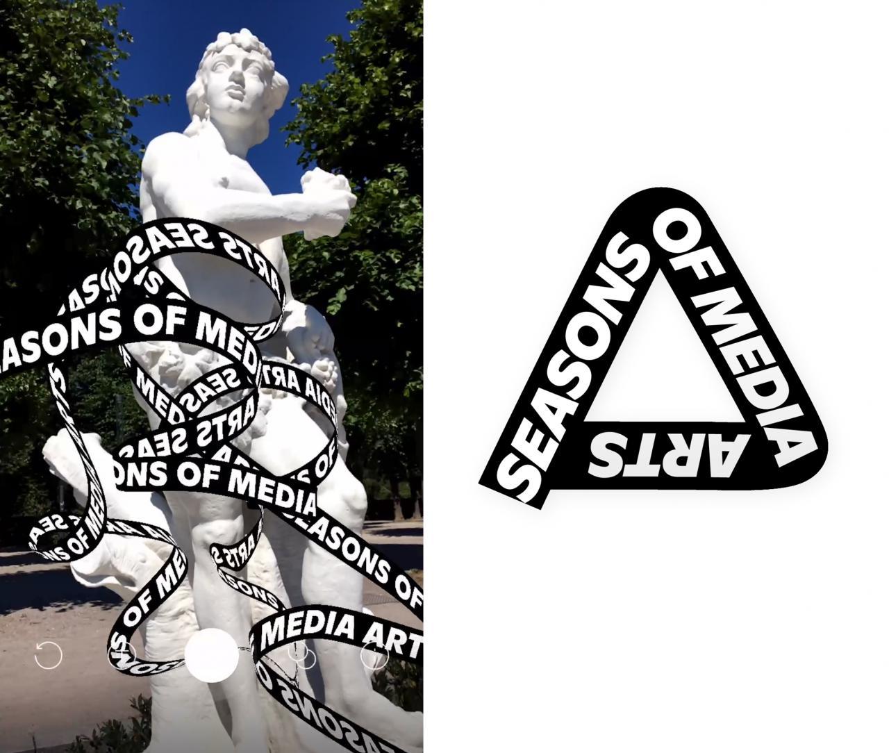 Eine antike Statue eines Mannes, um die sich ein virtuelles Band mit Schriftzug windet.