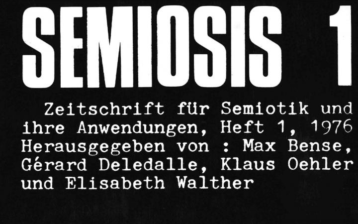 "Cover of the magazine ""semiosis"": white text on black background"