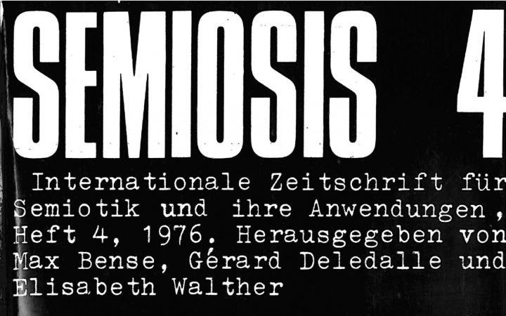 Cover der Zeitschrift »Semiosis«: weiße Schrift auf schwarzem Grund