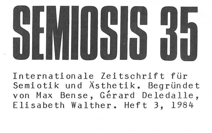 Cover der Zeitschrift »Semiosis«: schwarze Schrift auf weißem Grund