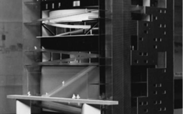 Ein Modellentwurf des ZKM-Neubaus.
