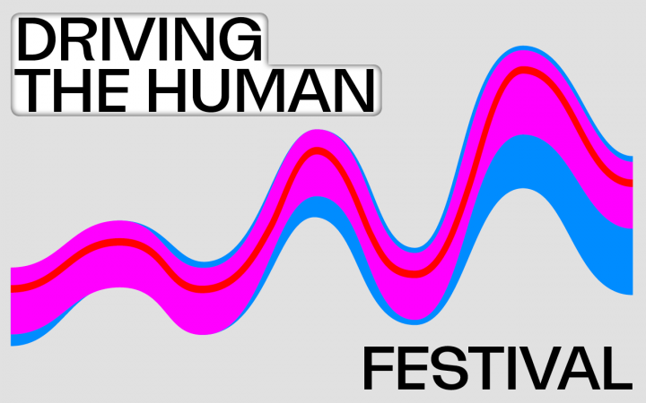 "On the left is ""Driving the Human Festival 20-22.11."" and a wave then winds diagonally across the image format."