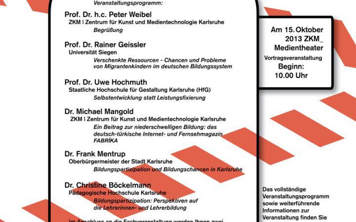 """Plakat zu """"Niederschwelliger Zugang zur Bildung"""" in weiß-schwarz-roter Gestaltung."""