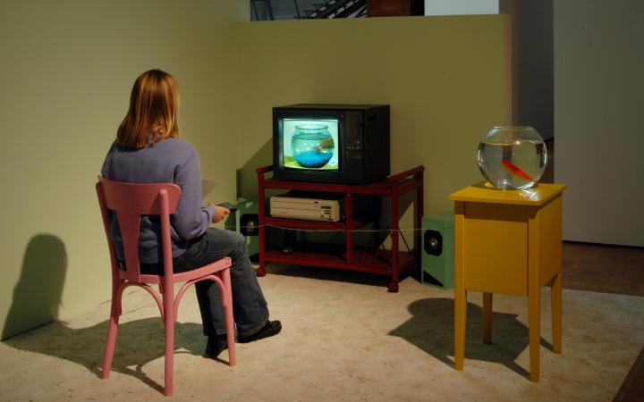 A woman sitting in front of a small TV, next to her a round fishbowl