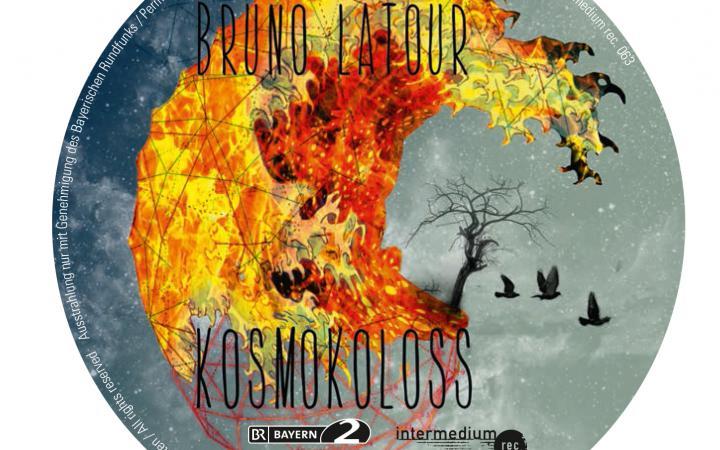 Eine Wolke aus Feuer schwebt im All. Vögel flüchten.