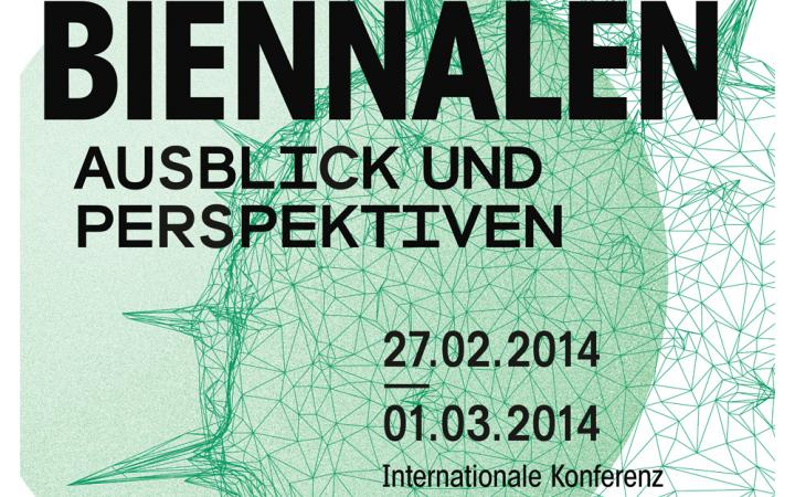 Green white poster with black lettering to: 'biennials' views and perspectives.