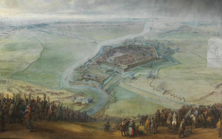 Military siege of a city. Paintings from the 17th century.