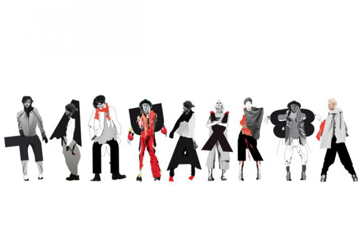 Nine people standing side by side. The surrounding space is completely white. Their heads are real, the clothing was generated in the colors black, gray, white and red by computer. Each body is associated with a letter.