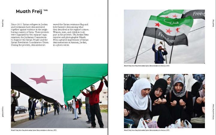 Beispielseite der Publikation »global aCtIVISm«: Text und Fotos