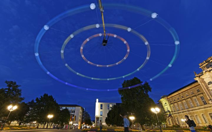 A huge colored centrifugal in Karlsruhe night sky