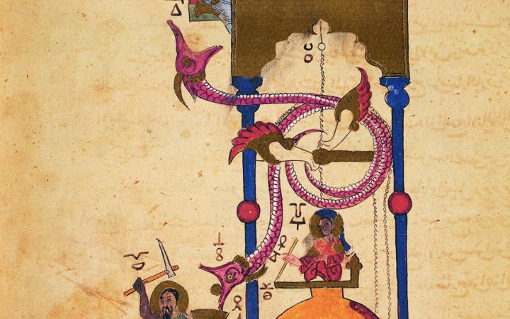 Auf dem Rücken eines Elefanten eine Sänfte mit drei Personen