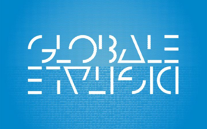 White letters on blue ground: GLOBALE and upside-down DIGITALEe-down DIGITALE