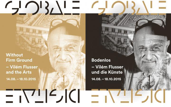Cover der Broschüre »Bodenlos. Flusser und die Künste«: Portraitfoto von Viém Flusser