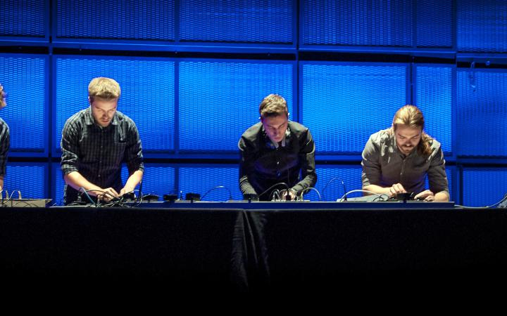 Five man at turntables