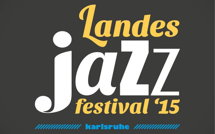 Orangene, weiße und blaue Schrift auf schwarzem Grund: Landesjazzfestival '15, Karlsruhe