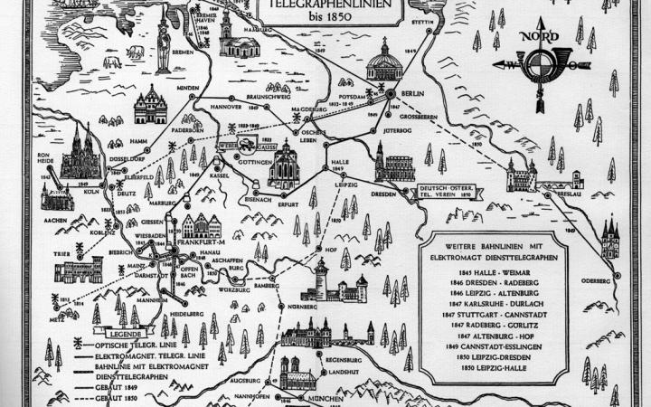 A historical map of Germany with marked telegraph lines