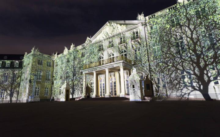 Projizierte grüne Bäume auf der Schlossfassade