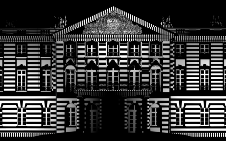The castle facade in black and white