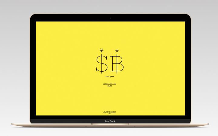 Tablet with yellow background on which the letters S and B can be seen