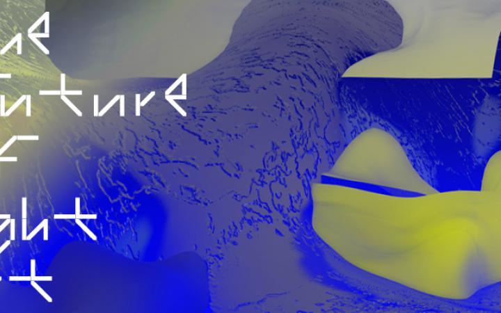 Weißer Schriftzug »The Future of Light Art« auf blau-gelben Strukturen