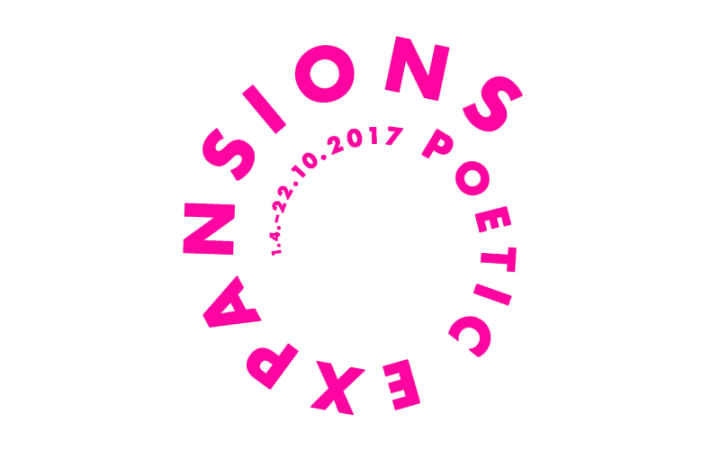 Pink lettering »Poetic Expansions« on a white background
