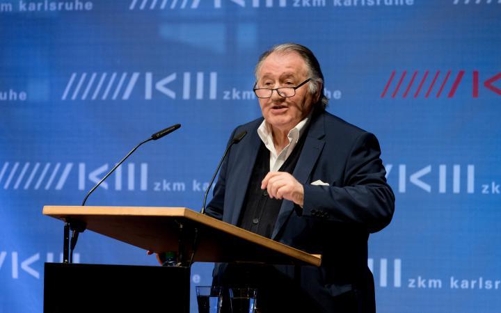 Peter Weibel speaks at the opening