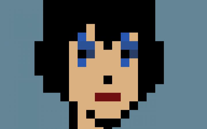Kryptokunst: Ein illustriertes Gesicht im Pixel-Stil.