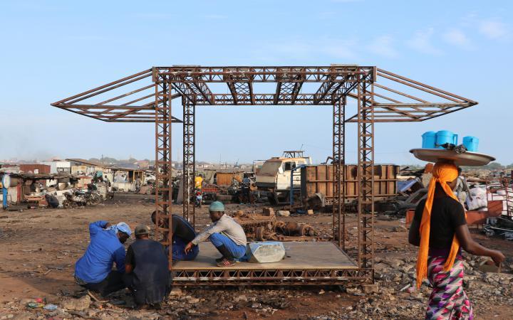 Blick auf den Agbobloshie Schrottplatz in Ghana