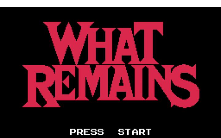 Rosa Schrift auf schwarzem Grund: What Remains