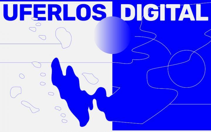 """In großen Blockbuchstaben ist der Schriftzug """"UFERLOS DIGITAL"""" zu lesen."""