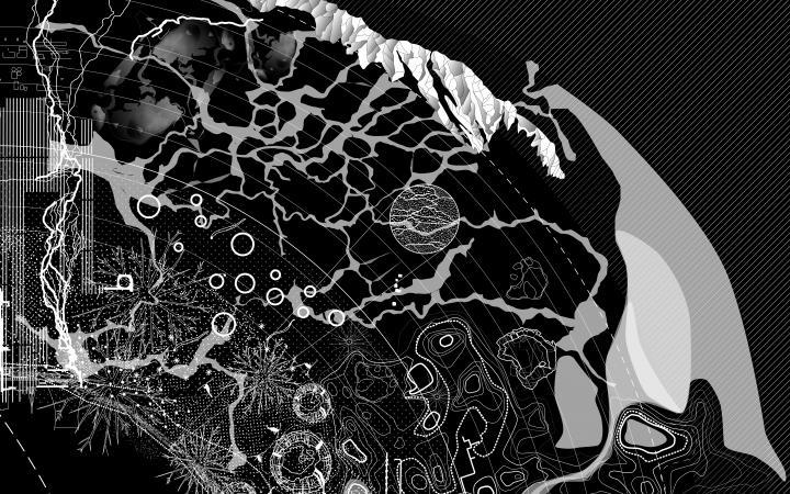 Abstrahierte Karte in schwarz-weiß zur Ausstellung »Critical Zones« von Bruno Latour